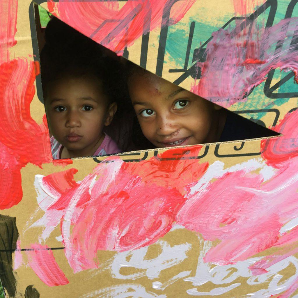 Bridge kids in cardboard